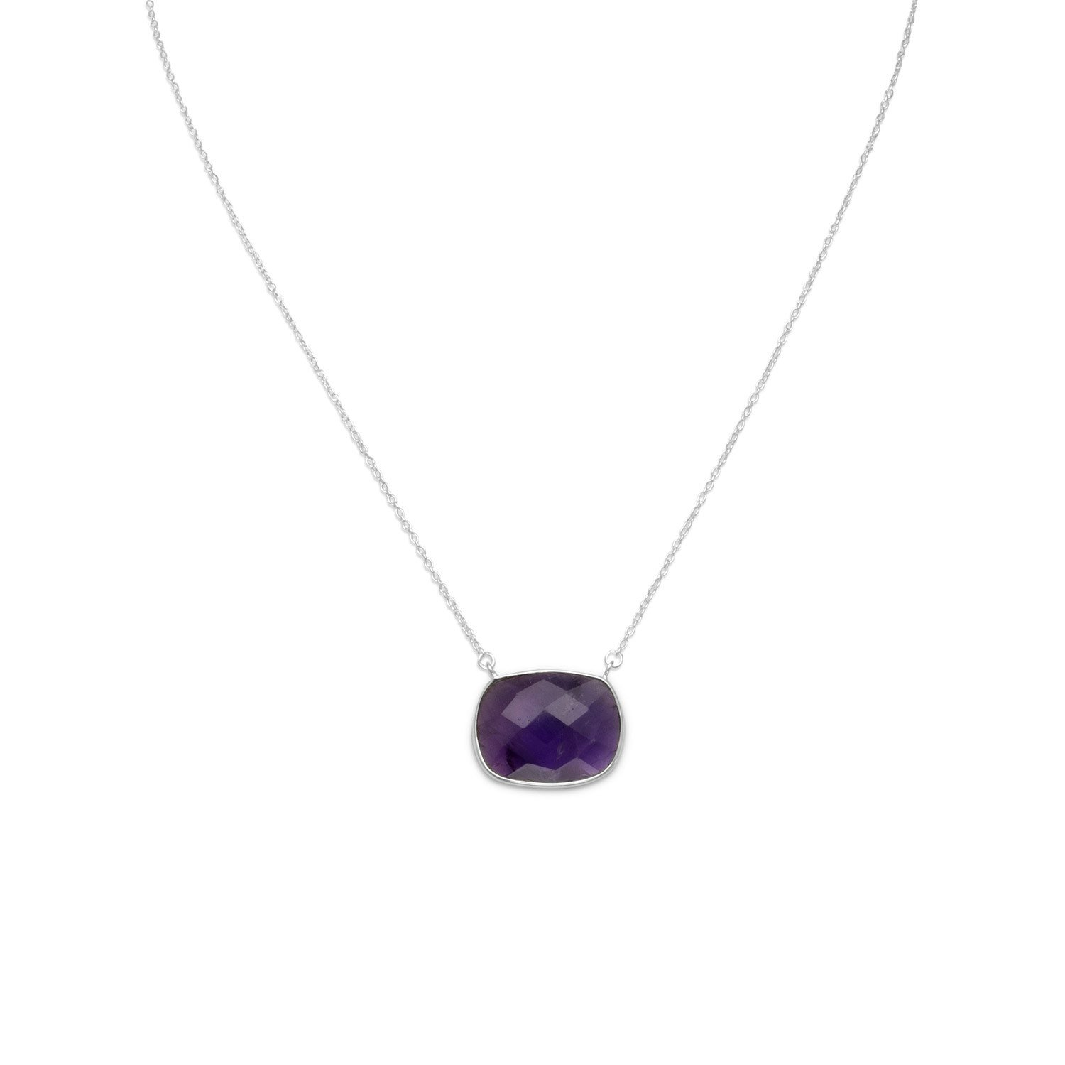 16″ + 2″ Faceted Oval Amethyst Necklace