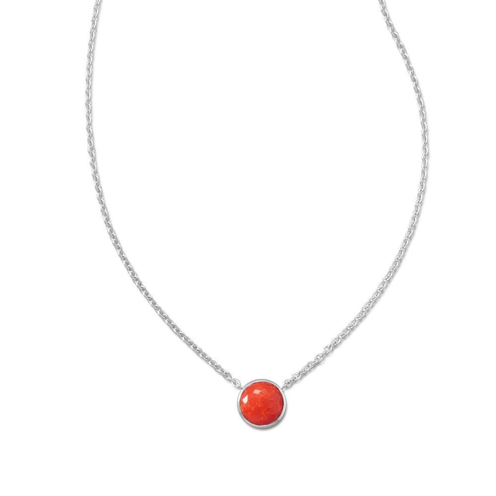 16″ + 2″ Freeform Faceted Quartz over Reconstituted Coral Necklace