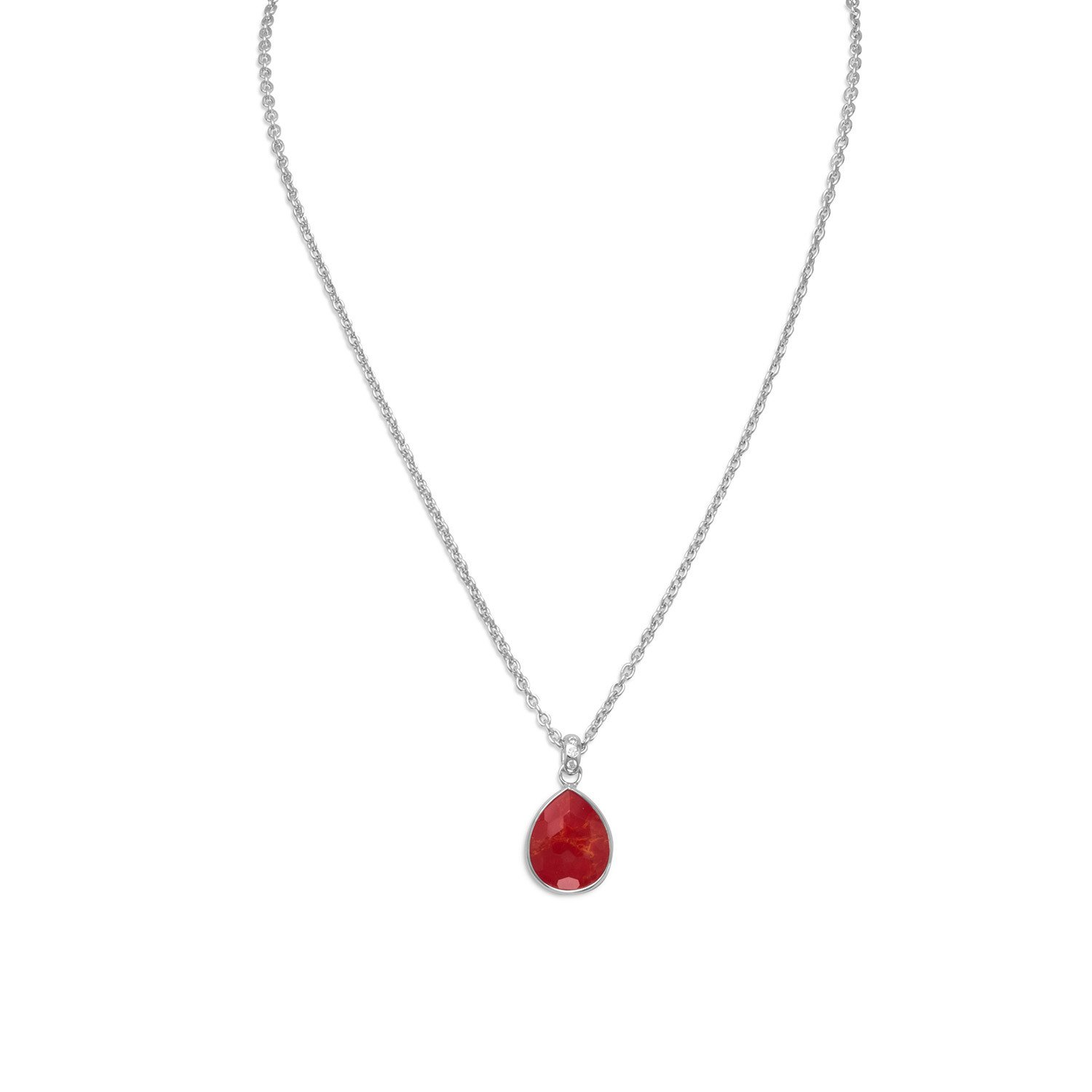 16″ + 2″ Freeform Faceted Quartz over Reconstituted Coral Pear Drop Necklace