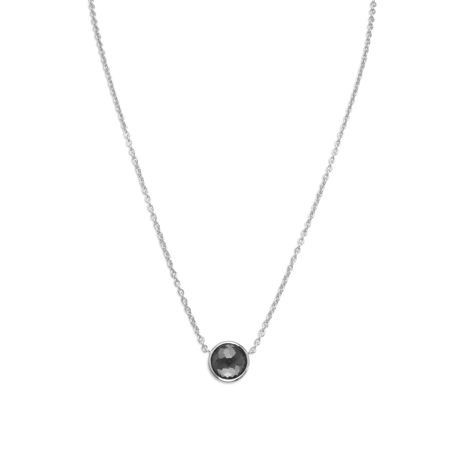 16″ + 2″ Rhodium Plated Round Freeform Faceted Quartz over Hematite Necklace