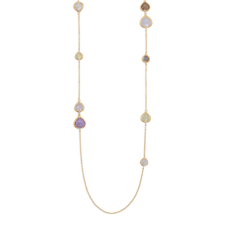 14 Karat Gold Plated Multistone Necklace
