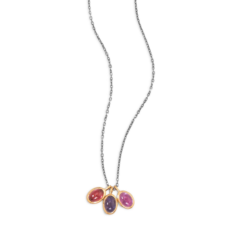 16″ Two Tone Multistone Drop Necklace