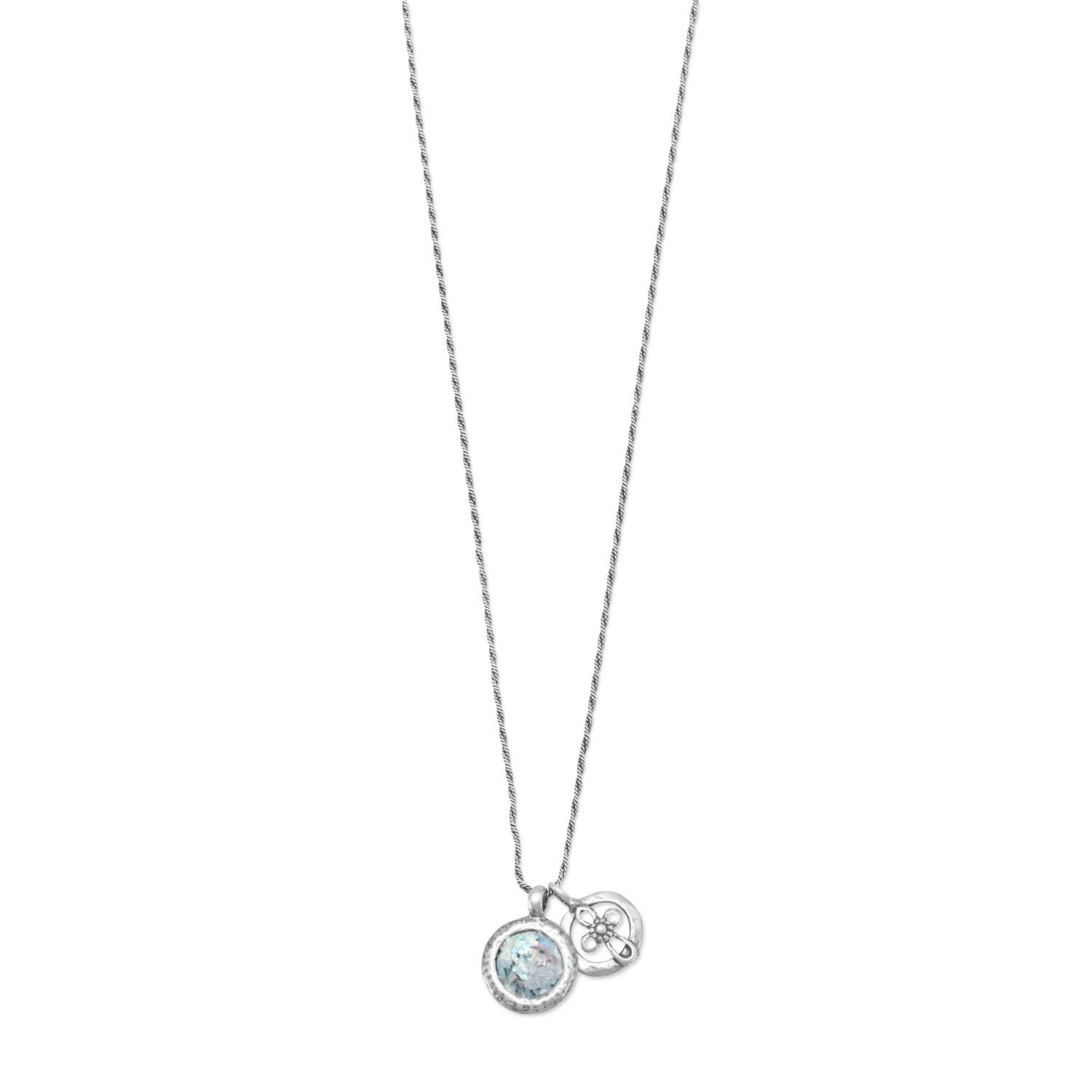 Roman Glass and Cut Out Cross Charm Necklace