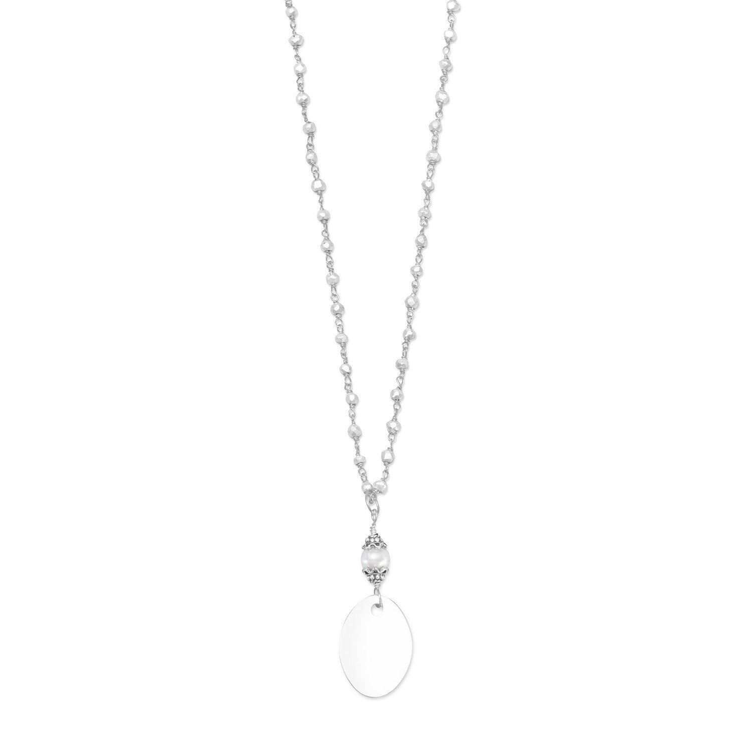 Pyrite Bead Necklace with Oval Engravable Tag
