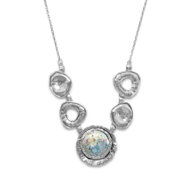 Oxidized Link Ancient Roman Glass Necklace