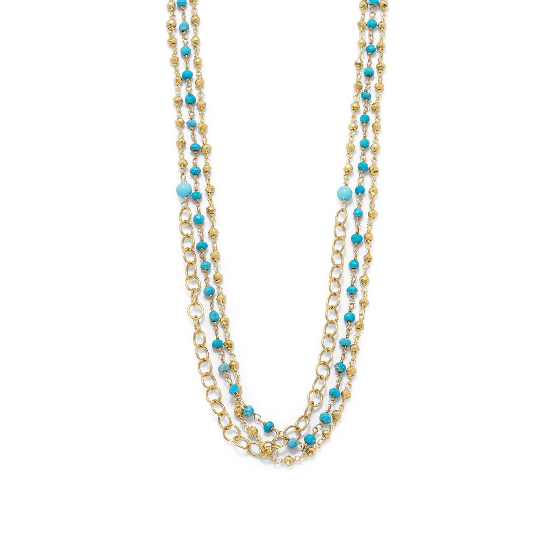 Triple Strand 14 Karat Gold Plated Multistone Necklace