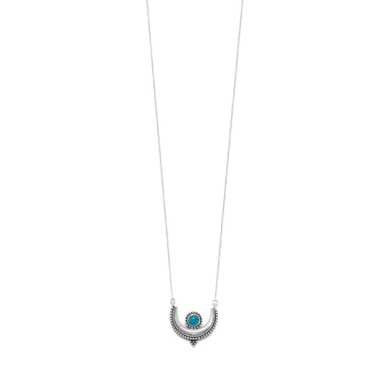 18″ Oxidized Turquoise Crescent Necklace