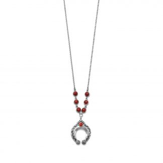 Oxidized Sterling Silver Crescent Necklace with Dyed Coral