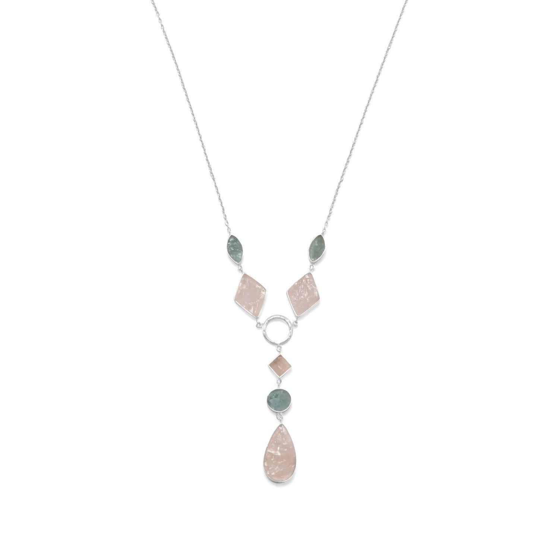 Sterling Silver Aquamarine and Rose Quartz Drop Necklace