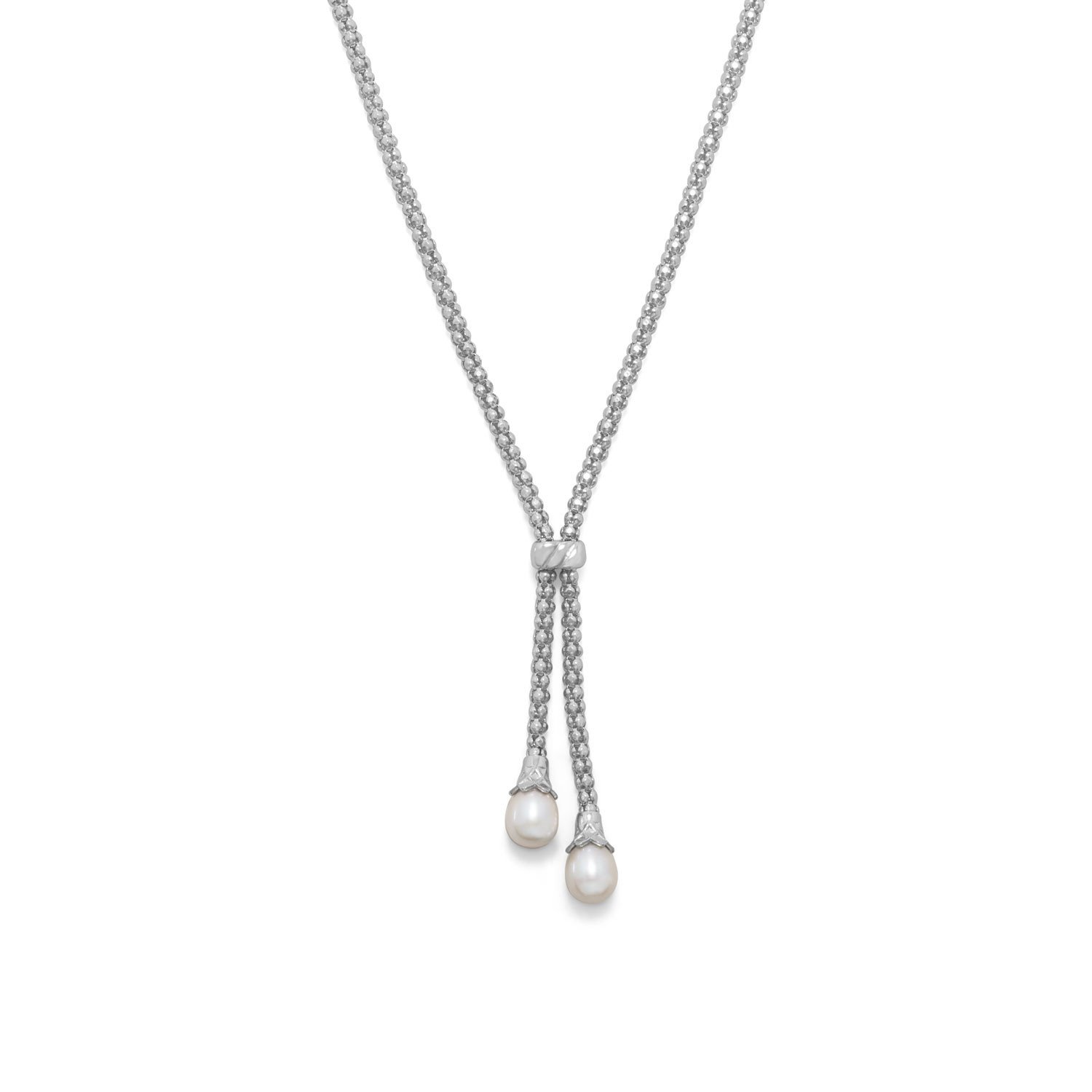 Rhodium Plated Coreana and Cultured Freshwater Pearl End Bolo Necklace