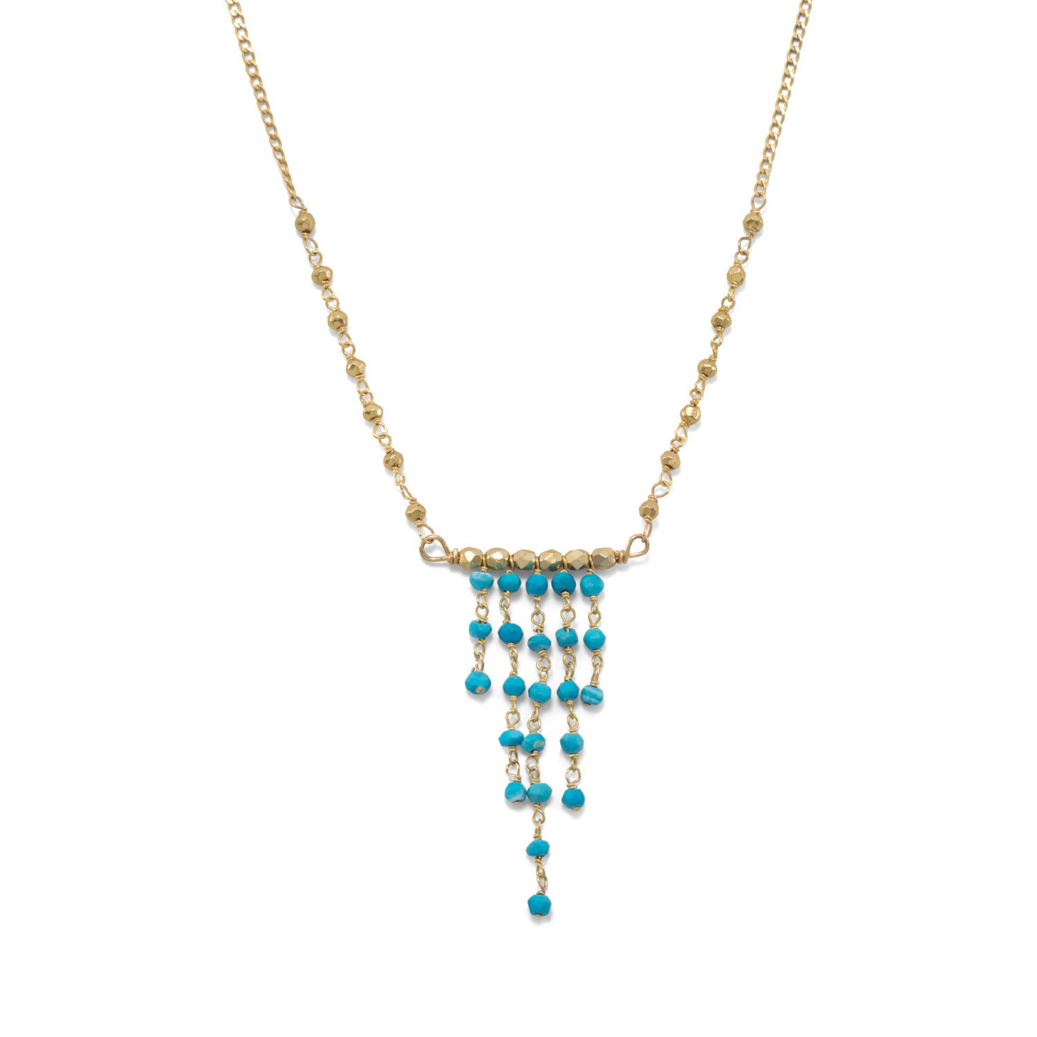 14K Gold Plated Necklace with Graduated Reconstituted Turquoise Center Drop
