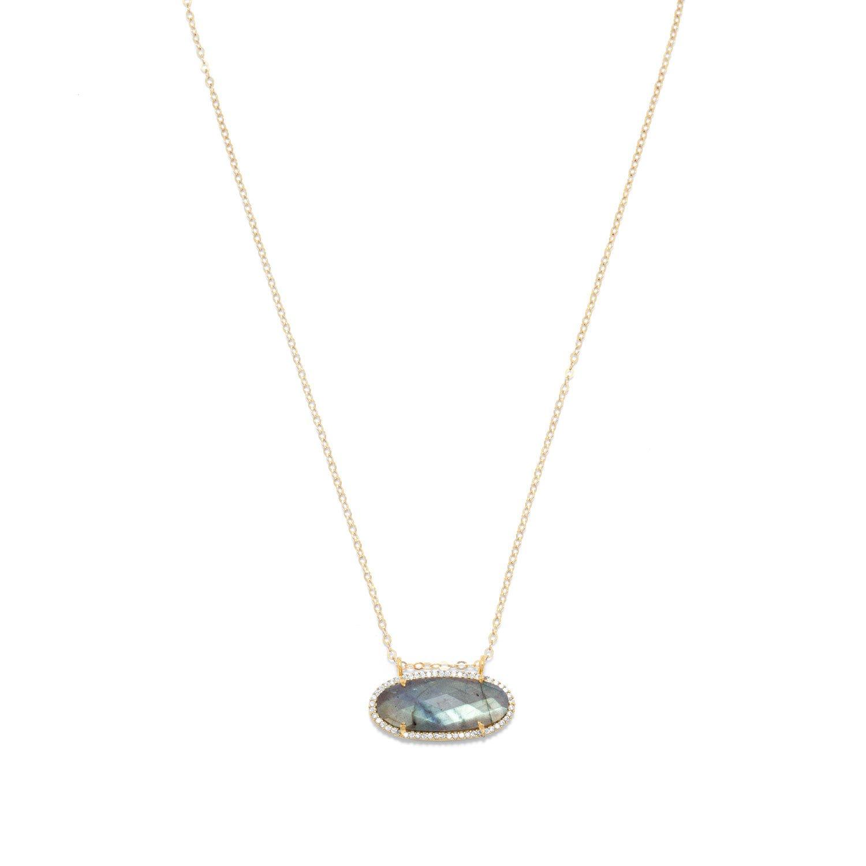 14/20 Gold Filled Labradorite Ellipse and CZ Edge Slide Necklace