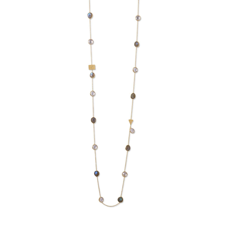 14 Karat Gold Plated Labradorite and Clear Quartz Endless Necklace