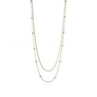 14 Karat Gold Plated Double Strand Labradorite Bead Necklace