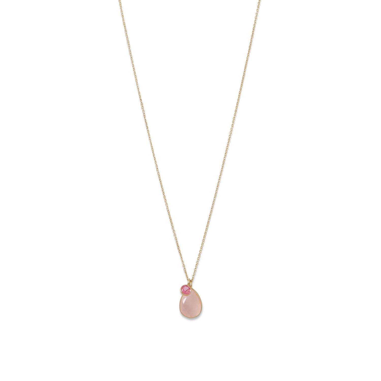 14 Karat Gold Rose Quartz and Pink Hydro Glass Necklace