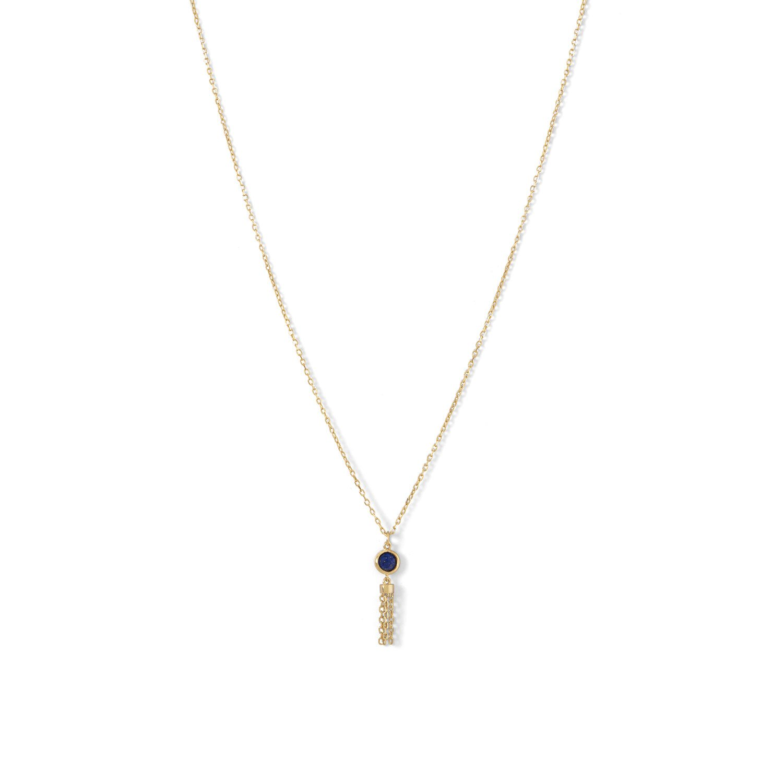 14 Karat Gold Plated Mini Lapis and Tassel Necklace