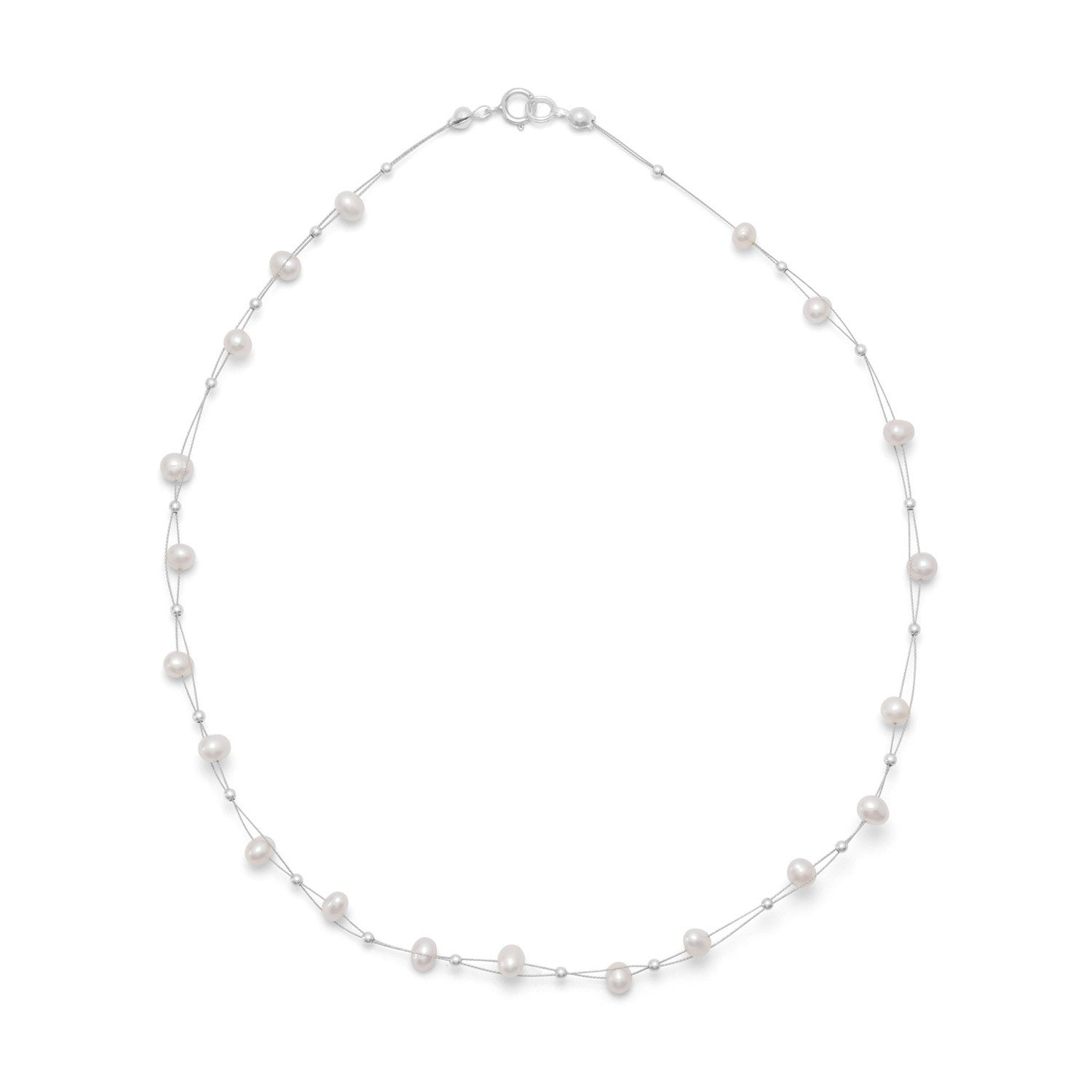 16″ Double Strand Cultured Freshwater Pearl Necklace