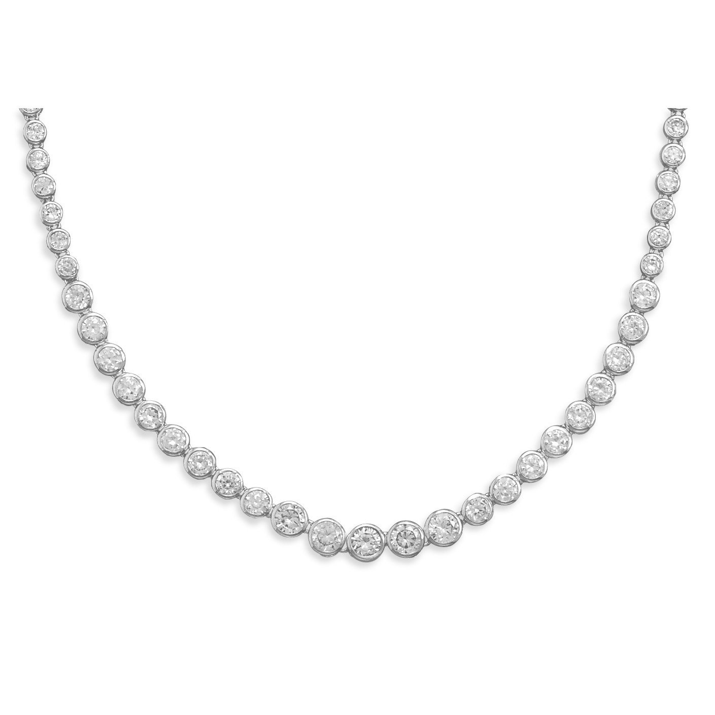 17″ Graduated Bezel CZ Necklace