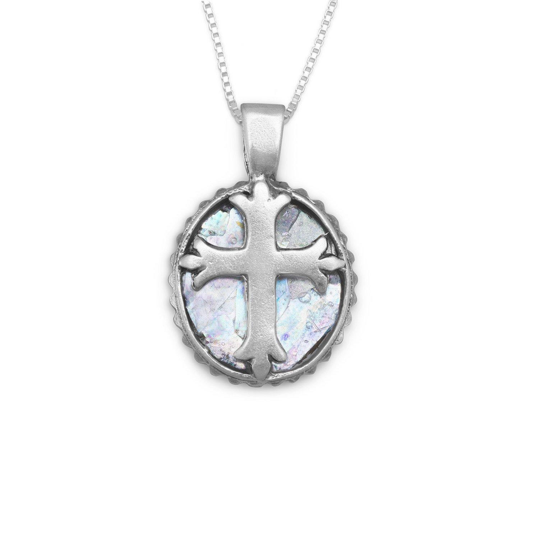 18″ Oval Roman Glass Cross Necklace