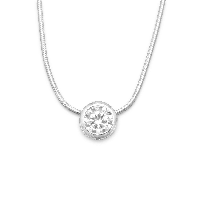 16″ Necklace with 7mm Bezel Set CZ Slide