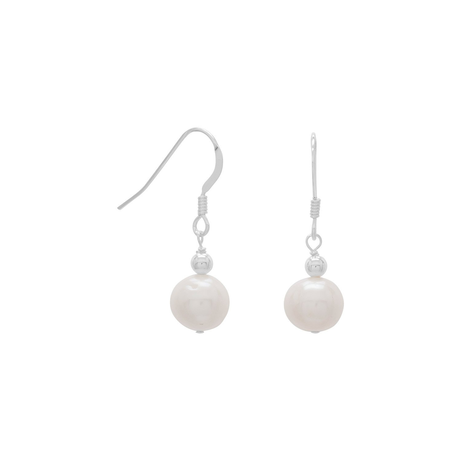 7mm White Cultured Freshwater Pearl Earrings on French Wire