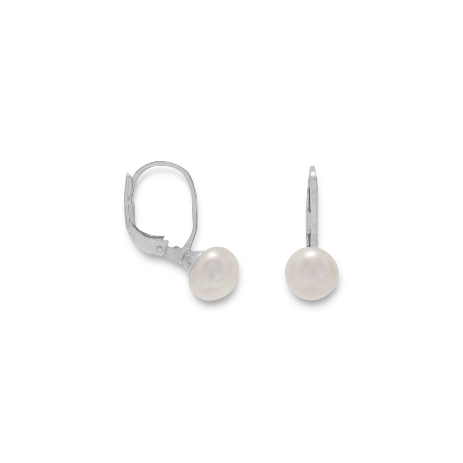 6mm White Cultured Freshwater Pearl on Lever Earrings