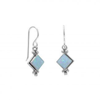 Diamond Shape Synthetic Blue Opal French Wire Earrings