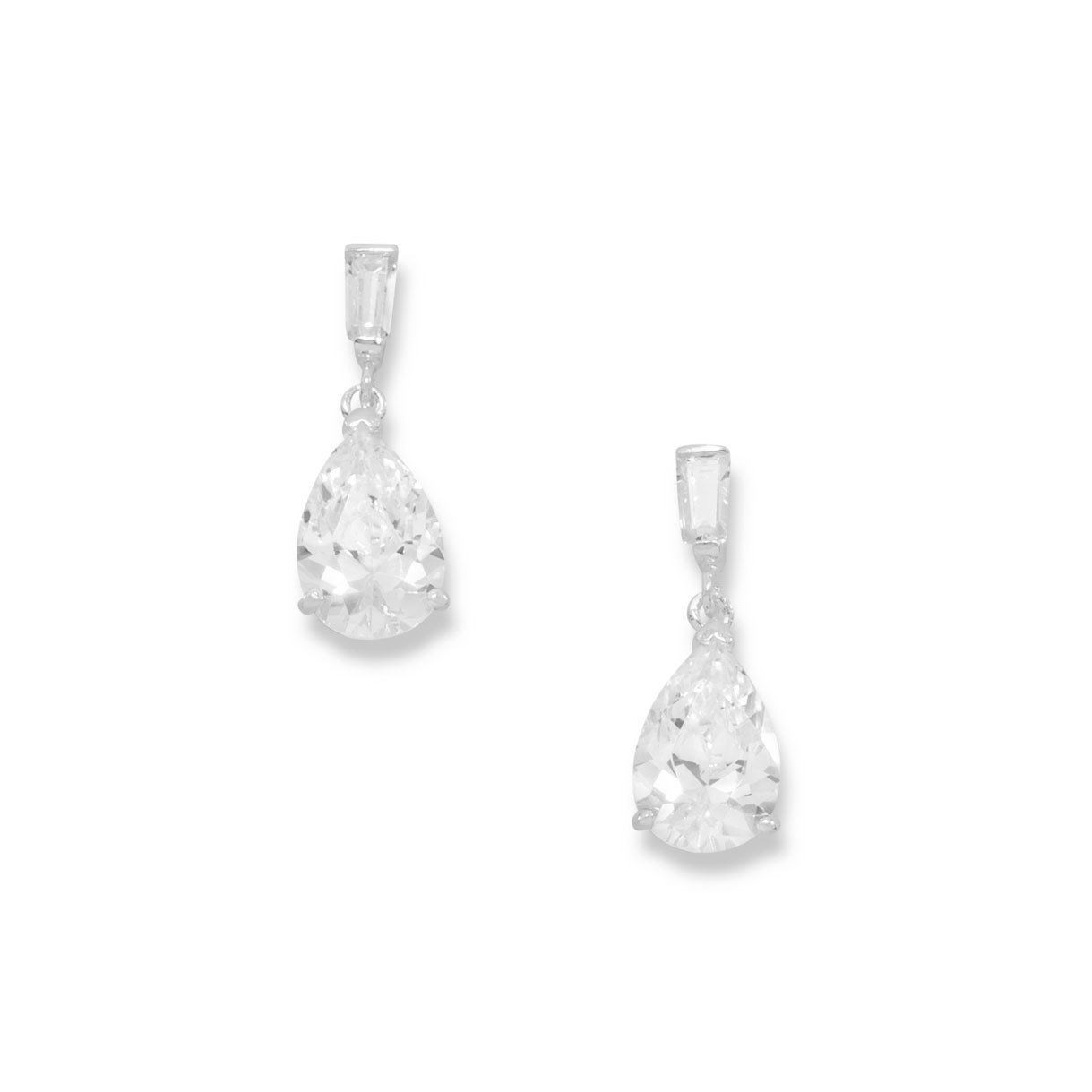 Pear Shape and Baguette CZ Post Earrings