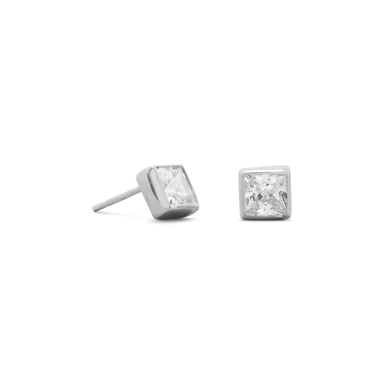 5mm Square CZ Post Earrings