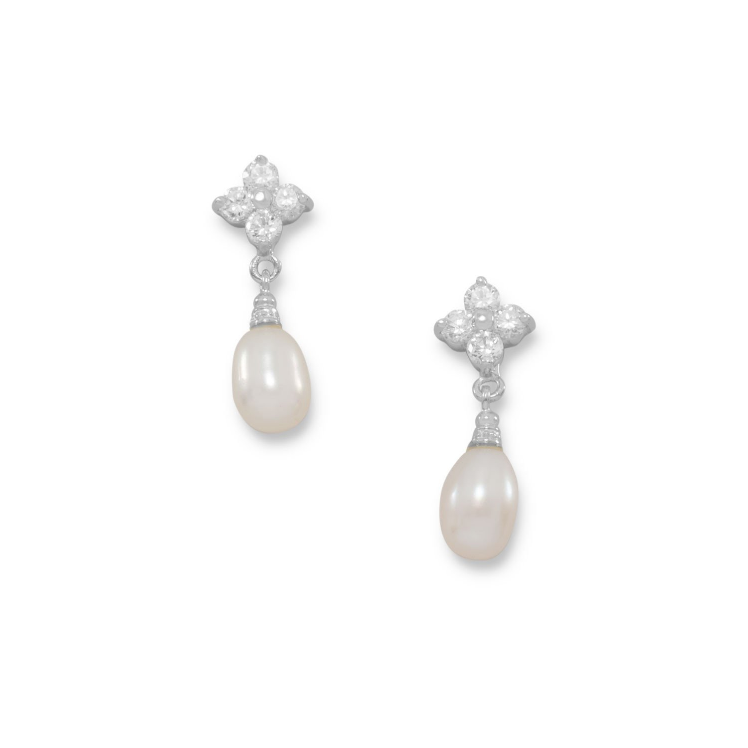 Rhodium Plated CZ Flower and Cultured Freshwater Pearl Post Earrings