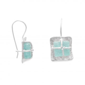Textured Square with Ancient Roman Glass Earrings