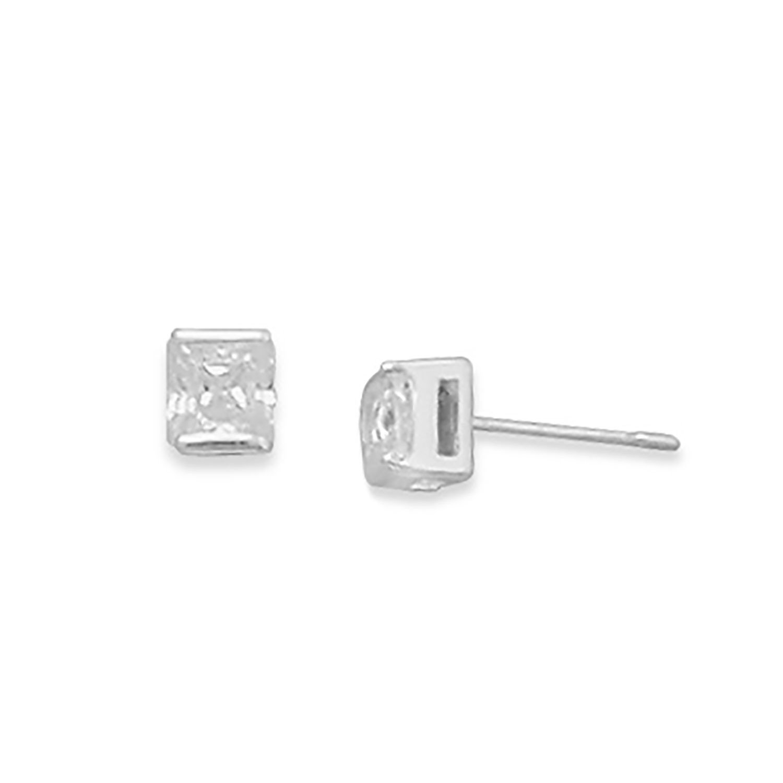 4mm Square CZ Post Earrings