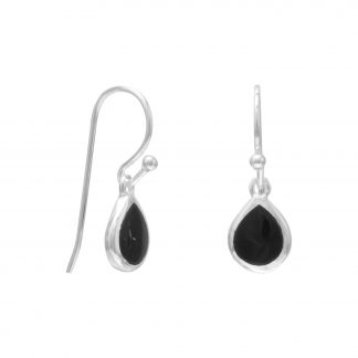 Pear Inlay Black Onyx French Wire Earrings