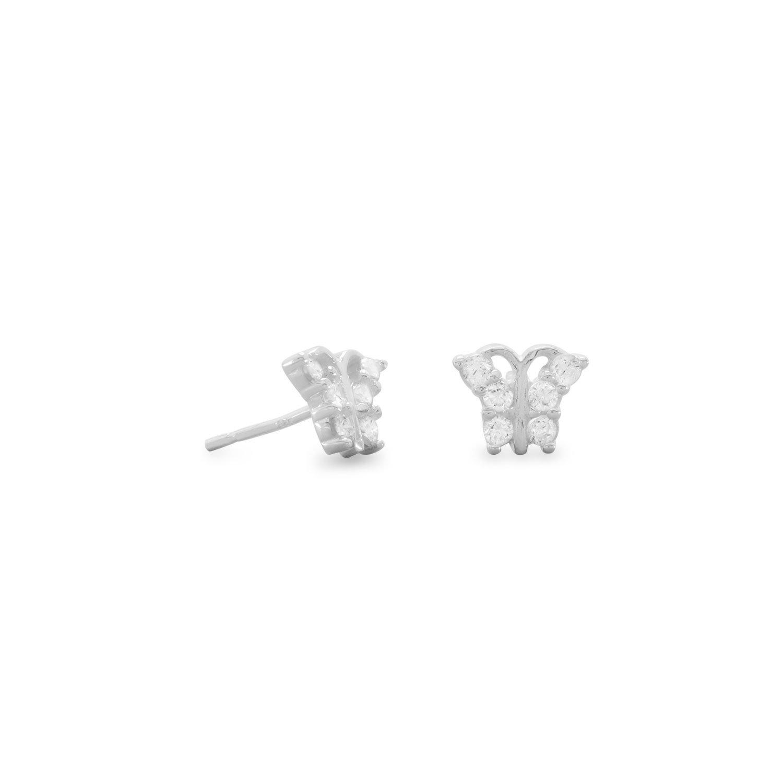 CZ Butterfly Stud Earrings