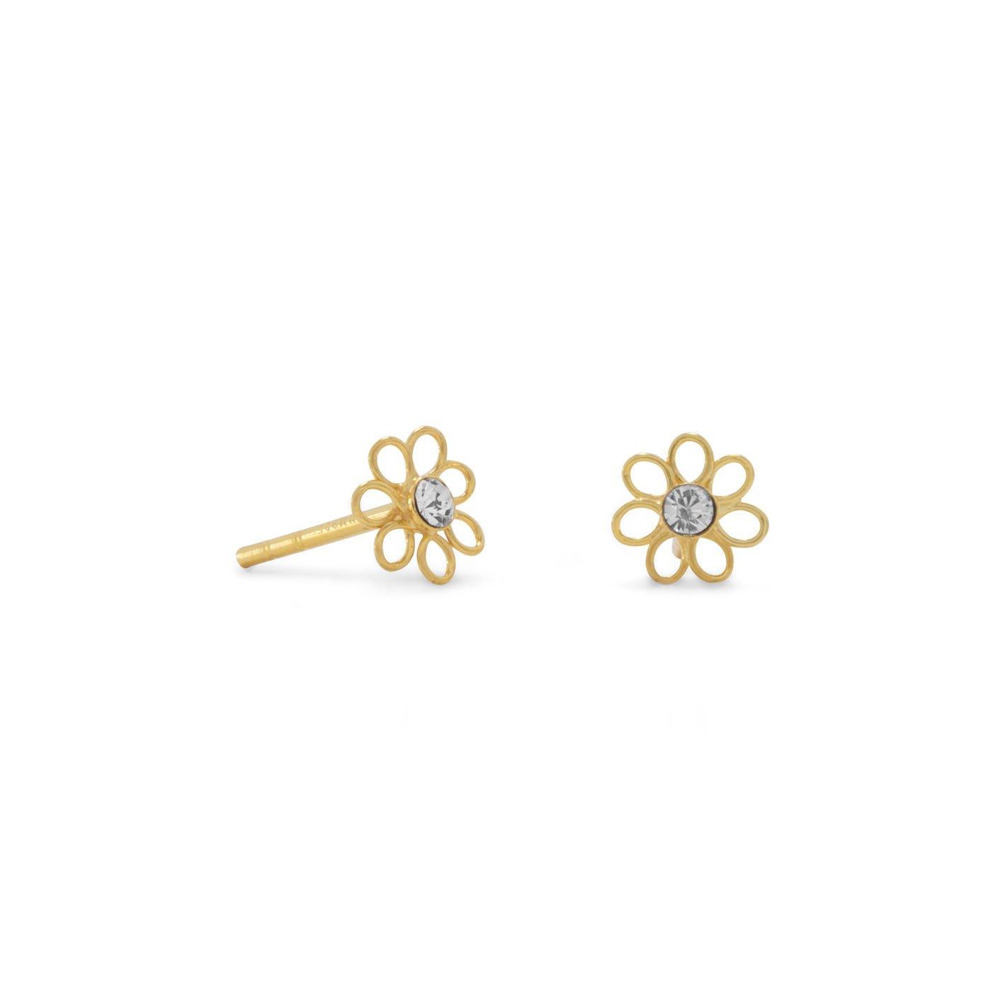 14 Karat Gold Plated Flower Stud Earrings