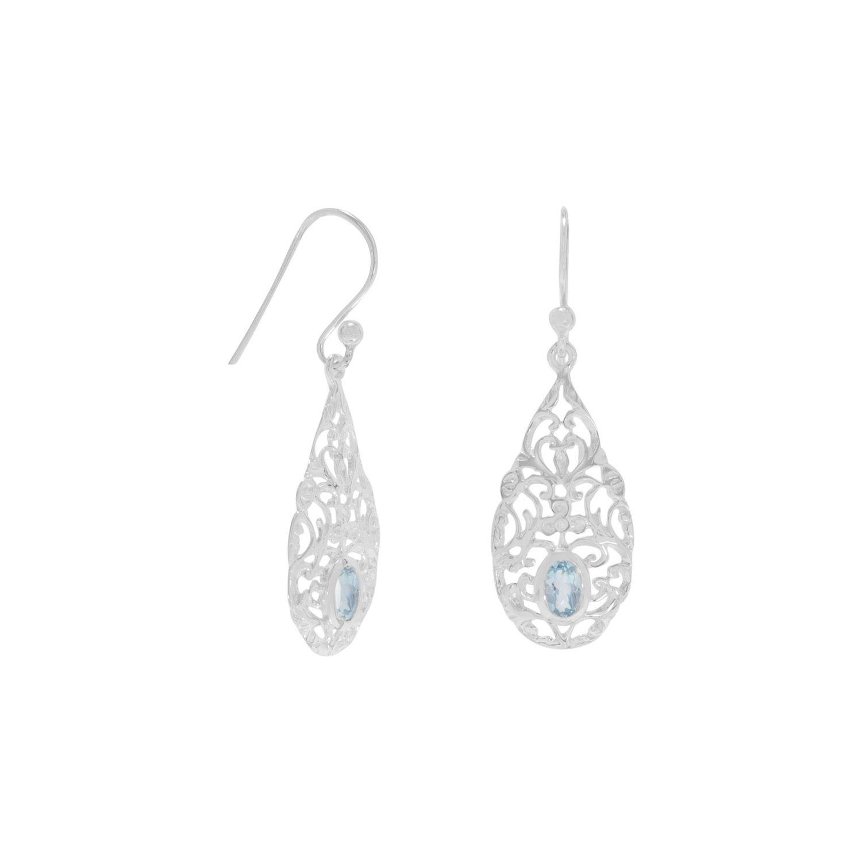 Pear Shape Blue Topaz Drop Earrings