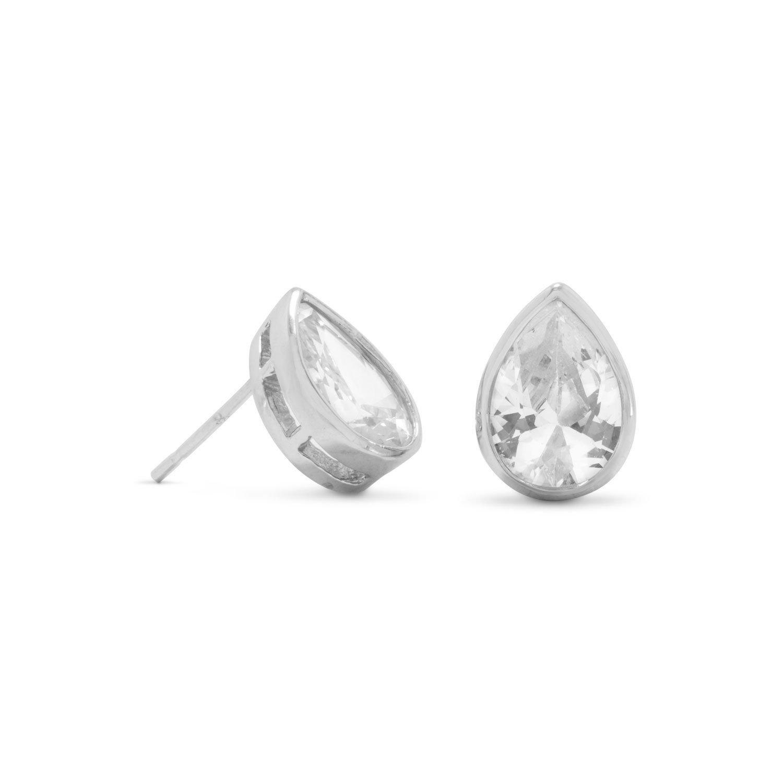 Rhodium Plated Tear Shape CZ Stud Earrings