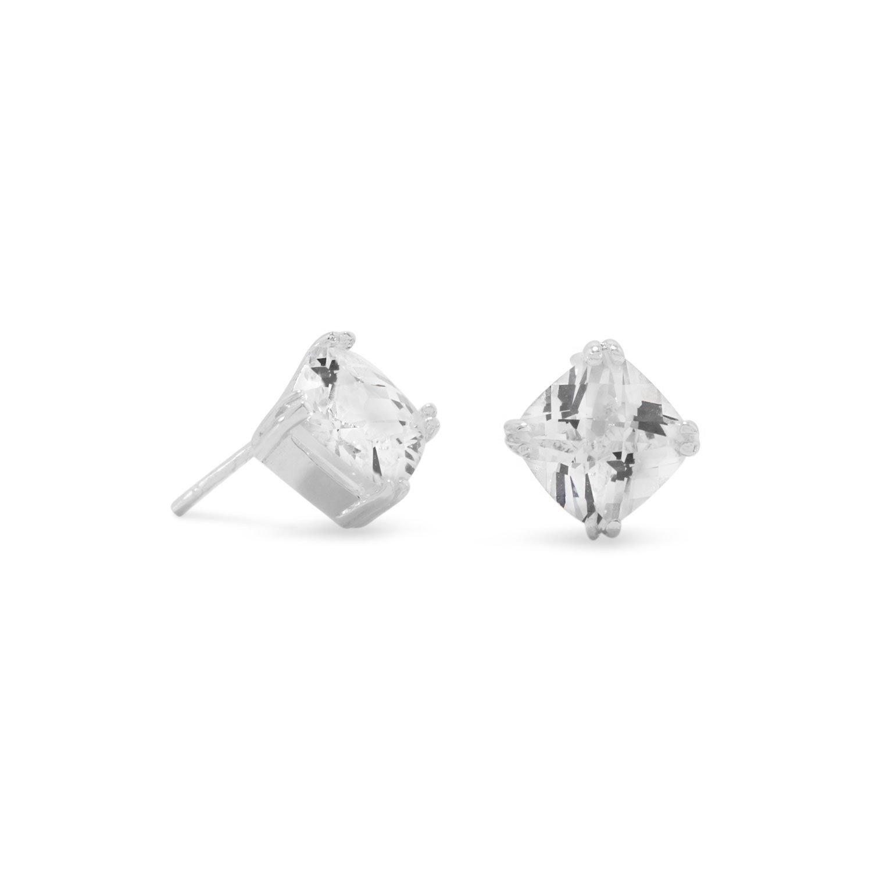 Diamond Shape CZ Stud Earrings