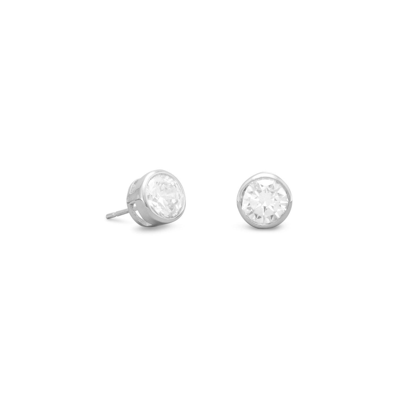 Bezel Set CZ Stud Earrings