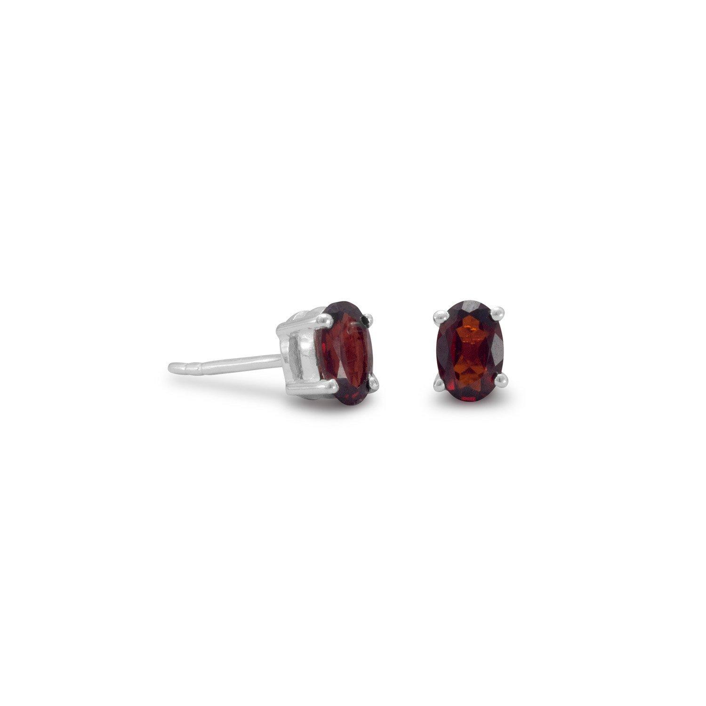 Oval Garnet Earrings