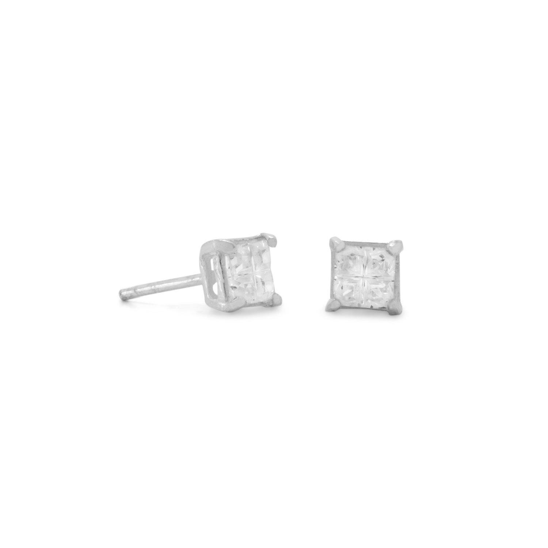 4mm 4 Cut Square CZ Earrings