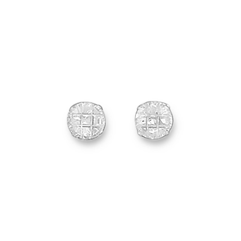 5mm 9 Cut Round CZ Earrings
