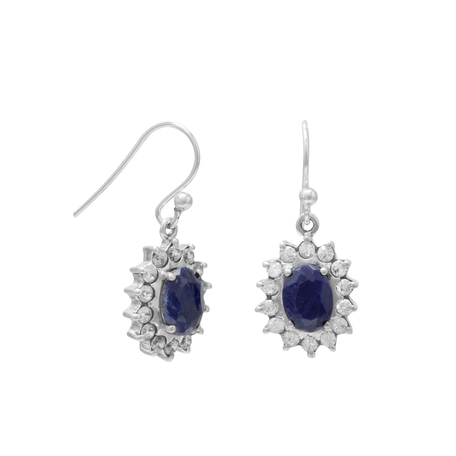 Corundum and Clear CZ French Wire Earrings
