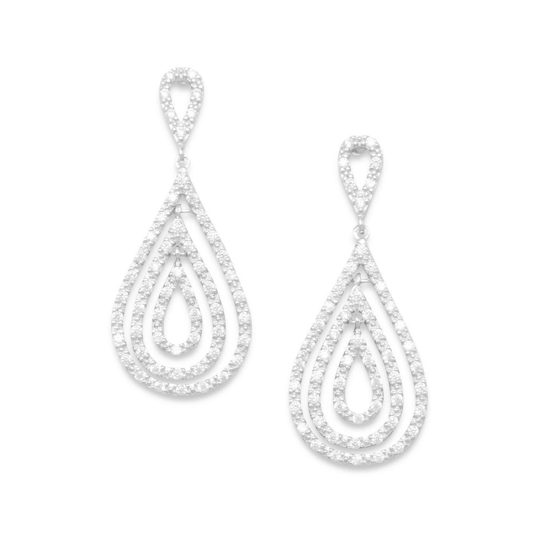 Rhodium Plated CZ Pear Drop Earrings