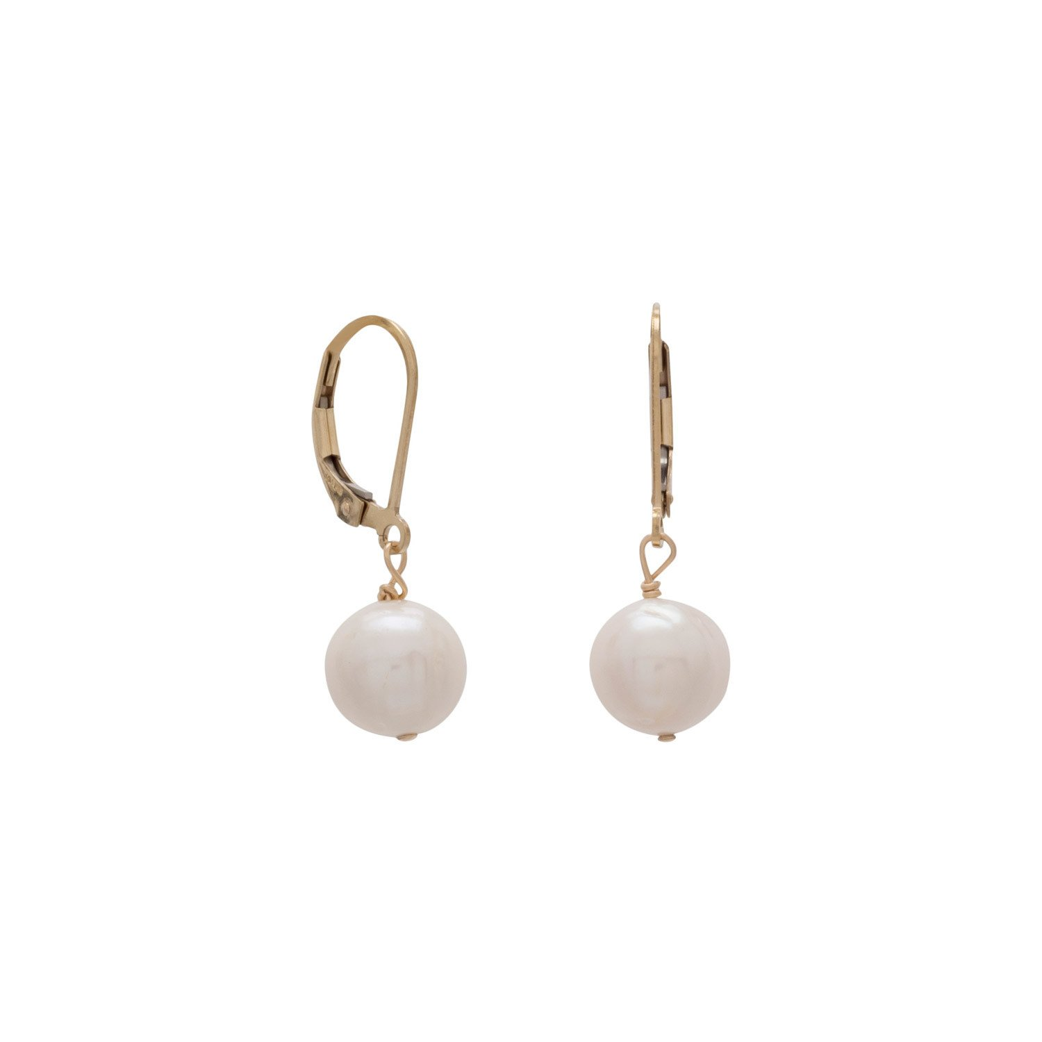Cultured Freshwater Pearl 14/20 Gold Filled Lever Earrings