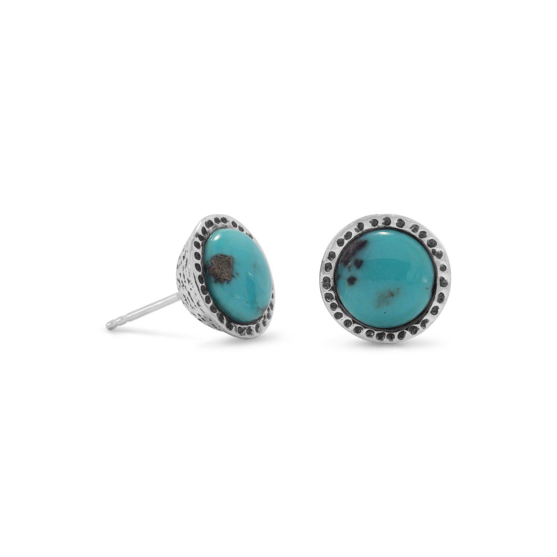 Oxidized Stabilized Turquoise Stud Earrings