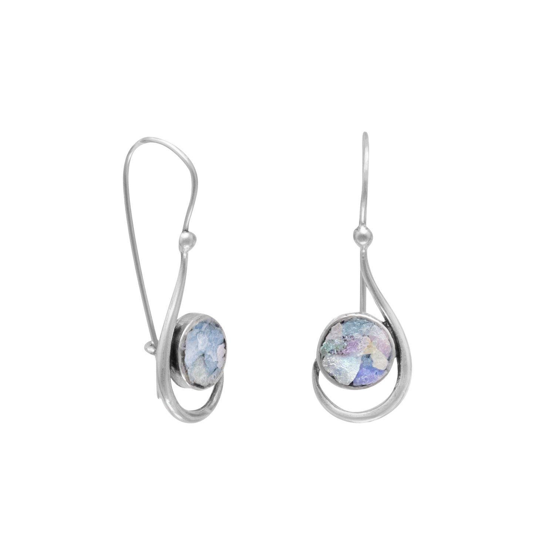Hook Shape Earrings with Roman Glass