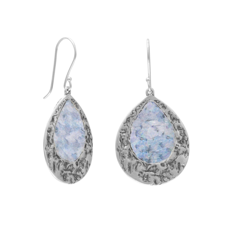 Oxidized Pear Shape Roman Glass Earrings