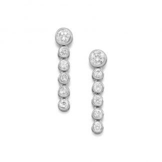 6 Dangle CZ Post Earrings