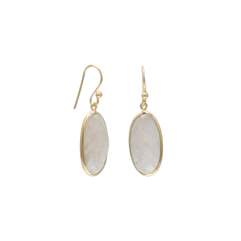 14 Karat Gold Plated Rutilated Quartz Earrings